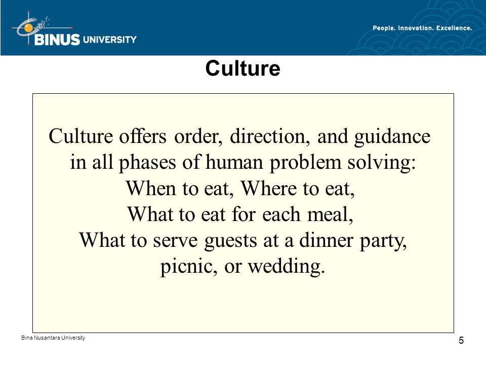Bina Nusantara University 5 Culture Culture offers order, direction, and guidance in all phases of human problem solving: When to eat, Where to eat, What to eat for each meal, What to serve guests at a dinner party, picnic, or wedding.