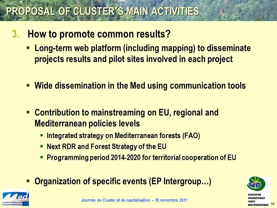 Journée de Cluster et de capitalisation – 30 novembre 2011 PROPOSAL OF CLUSTER'S MAIN ACTIVITIES 3.How to promote common results.