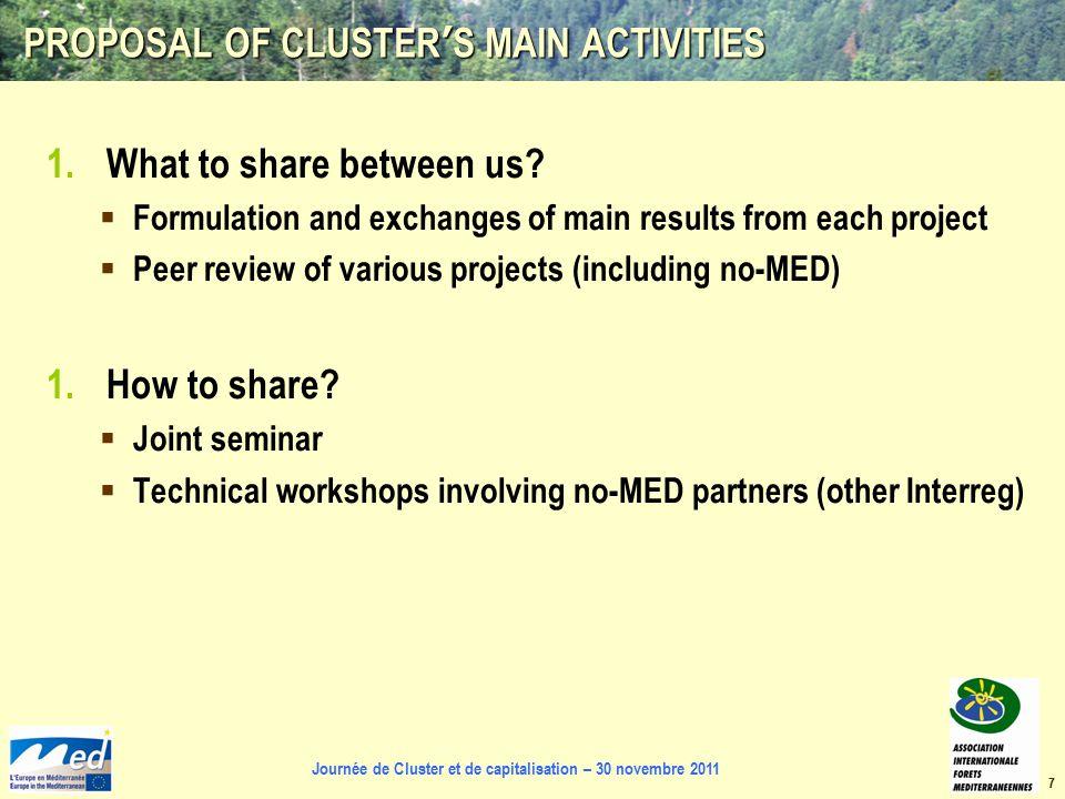 Journée de Cluster et de capitalisation – 30 novembre 2011 PROPOSAL OF CLUSTER'S MAIN ACTIVITIES 1.What to share between us.