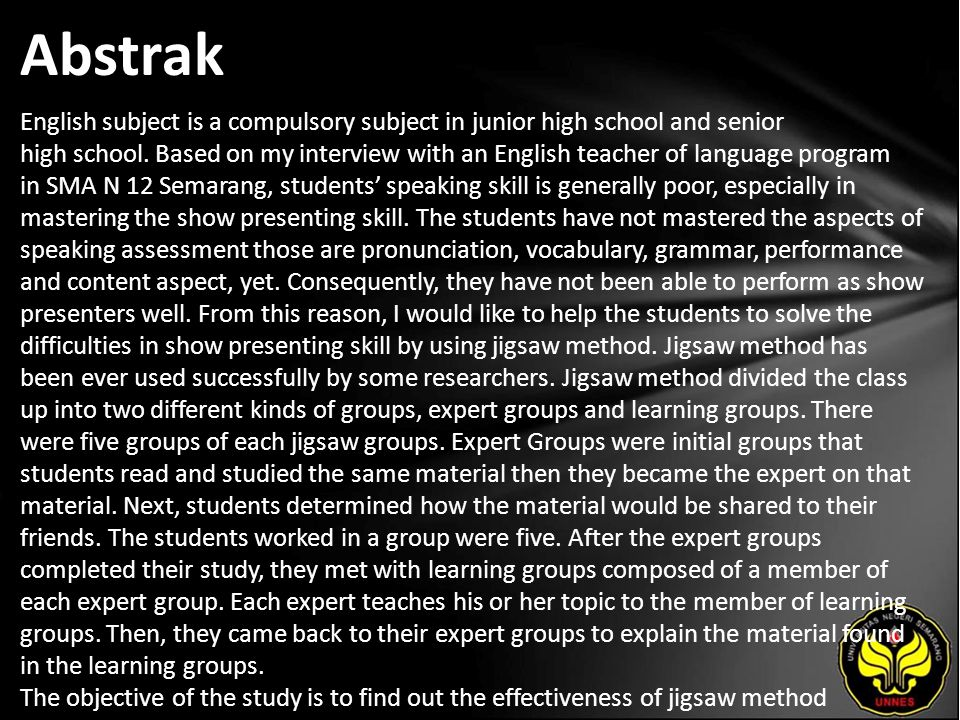 Abstrak English subject is a compulsory subject in junior high school and senior high school.