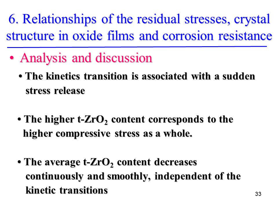 33 Analysis and discussionAnalysis and discussion The kinetics transition is associated with a sudden The kinetics transition is associated with a sudden stress release stress release The higher t-ZrO 2 content corresponds to the The higher t-ZrO 2 content corresponds to the higher compressive stress as a whole.