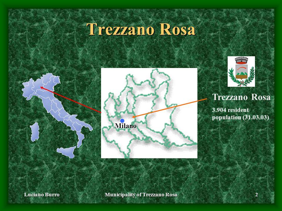 Luciano BurroMunicipality of Trezzano Rosa2 Trezzano Rosa 3.904 resident population (31.03.03) Milano