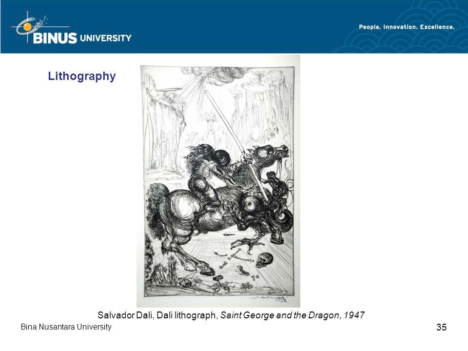 Bina Nusantara University 35 Salvador Dali, Dali lithograph, Saint George and the Dragon, 1947 Lithography