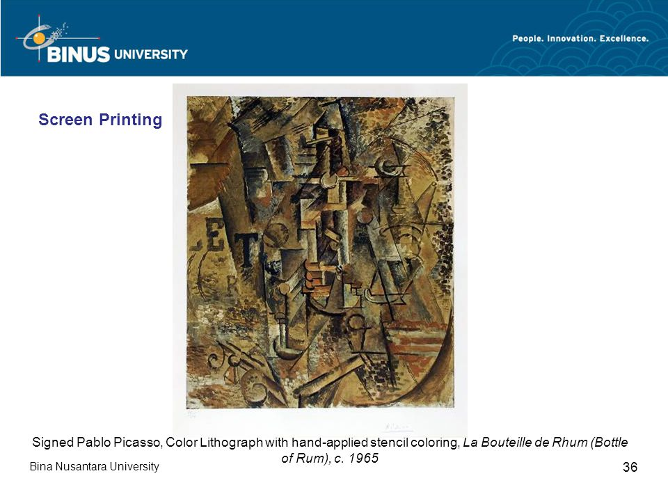 Bina Nusantara University 36 Signed Pablo Picasso, Color Lithograph with hand-applied stencil coloring, La Bouteille de Rhum (Bottle of Rum), c.
