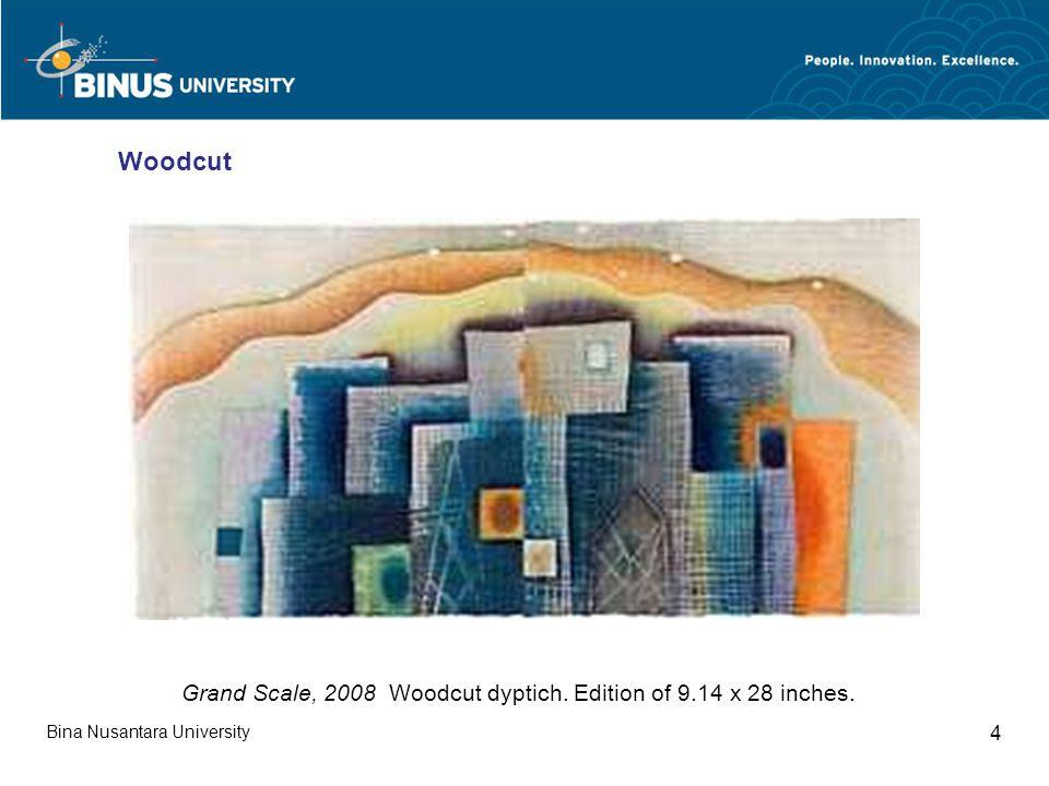Bina Nusantara University 5 Seeding Jewels, 2008 Woodcut. Edition of 40.18 x 18 inches. Woodcut