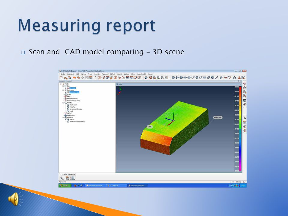 3D scanning  Used to component checking by comparing with CAD model and engineering reverse.