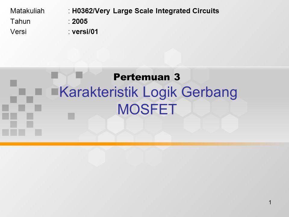 1 Pertemuan 3 Karakteristik Logik Gerbang MOSFET Matakuliah: H0362/Very Large Scale Integrated Circuits Tahun: 2005 Versi: versi/01
