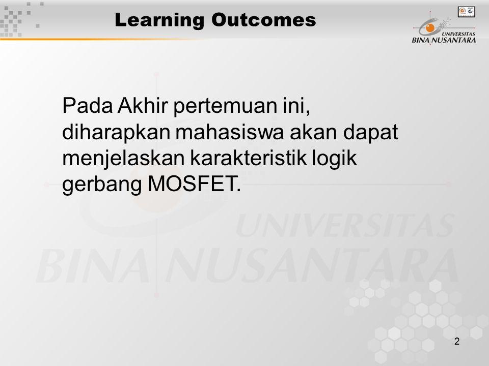 2 Learning Outcomes Pada Akhir pertemuan ini, diharapkan mahasiswa akan dapat menjelaskan karakteristik logik gerbang MOSFET.