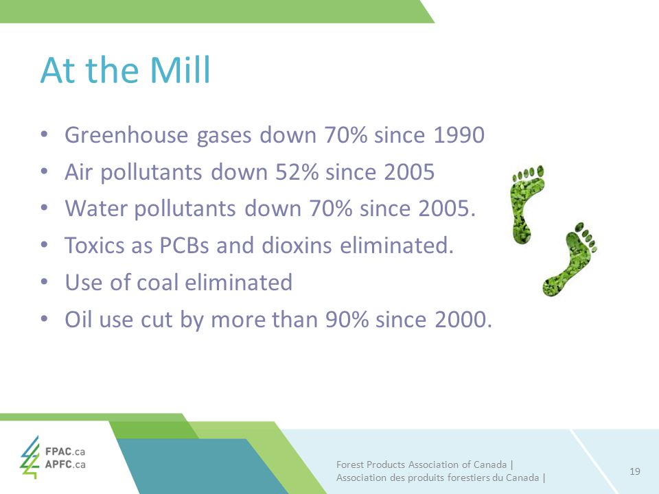 At the Mill Greenhouse gases down 70% since 1990 Air pollutants down 52% since 2005 Water pollutants down 70% since 2005.