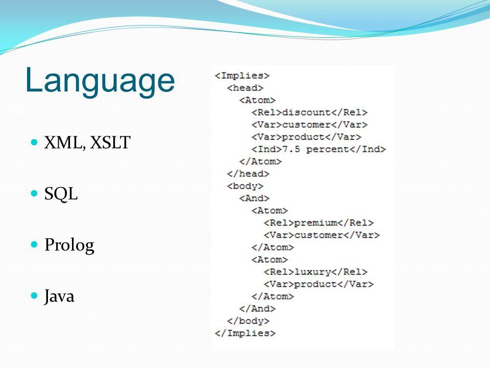 Language XML, XSLT SQL Prolog Java