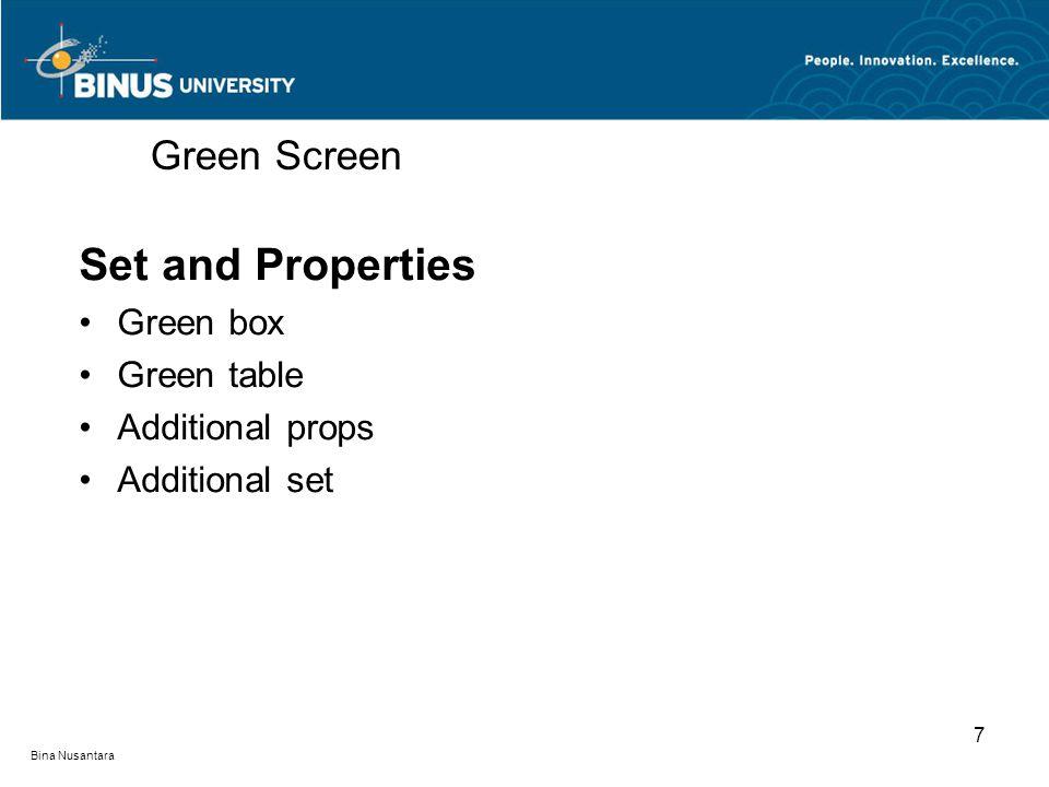 Bina Nusantara Set and Properties Green box Green table Additional props Additional set Green Screen 7