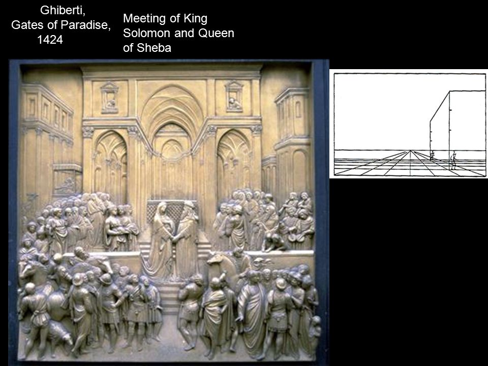 Meeting of King Solomon and Queen of Sheba Ghiberti, Gates of Paradise, 1424