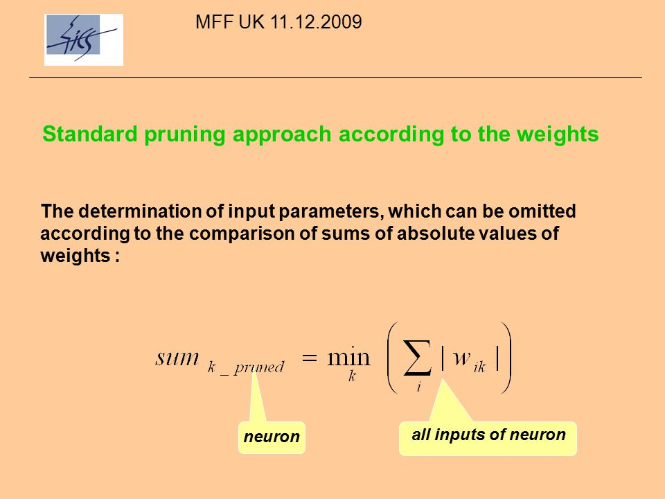 Pruning according to the sensitivity approach The determination of input parameters, which can be omitted according to the comparison of sums of absolute values of output signals derivatives :