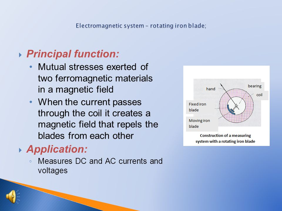  Principal function: Mutual stresses exerted of two ferromagnetic materials in a magnetic field When the current passes through the coil it creates a magnetic field that repels the blades from each other  Application: ◦ Measures DC and AC currents and voltages