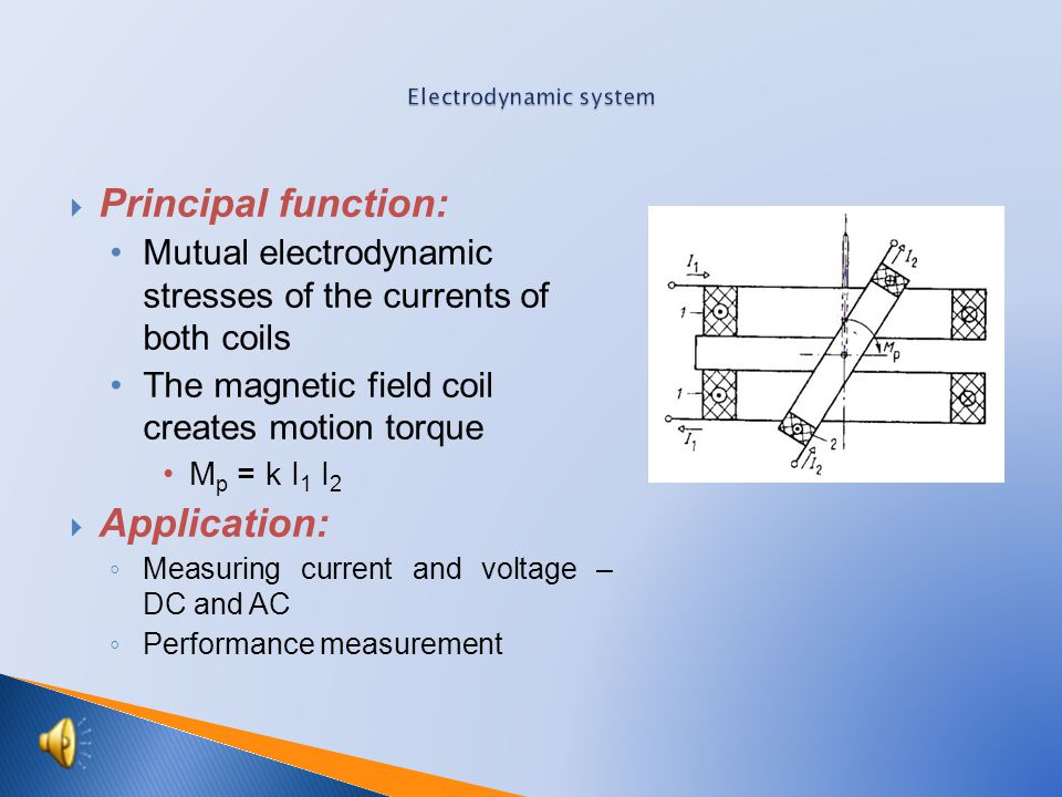 Principal function: Mutual electrodynamic stresses of the currents of both coils The magnetic field coil creates motion torque M p = k I 1 I 2  Application: ◦ Measuring current and voltage – DC and AC ◦ Performance measurement