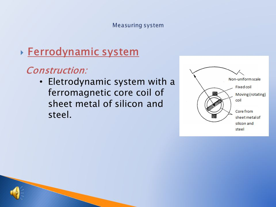  Ferrodynamic system Construction: Eletrodynamic system with a ferromagnetic core coil of sheet metal of silicon and steel.