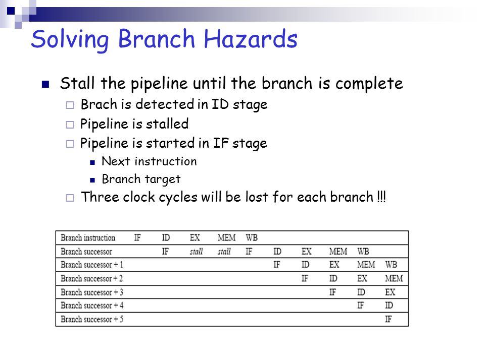 Stall the pipeline until the branch is complete  Brach is detected in ID stage  Pipeline is stalled  Pipeline is started in IF stage Next instructi