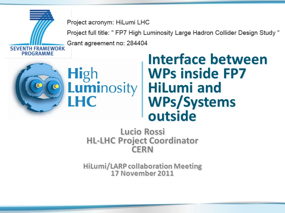 L.Rossi-Mngm&TC@HiLumi 17Nov20112 Governace HL-LHC FP7 HiLumi LHC DS is the driver of a larger project, aimed to construction