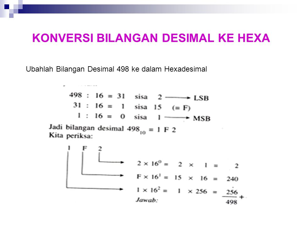 KONVERSI BILANGAN DESIMAL KE HEXA Ubahlah Bilangan Desimal 498 ke dalam Hexadesimal