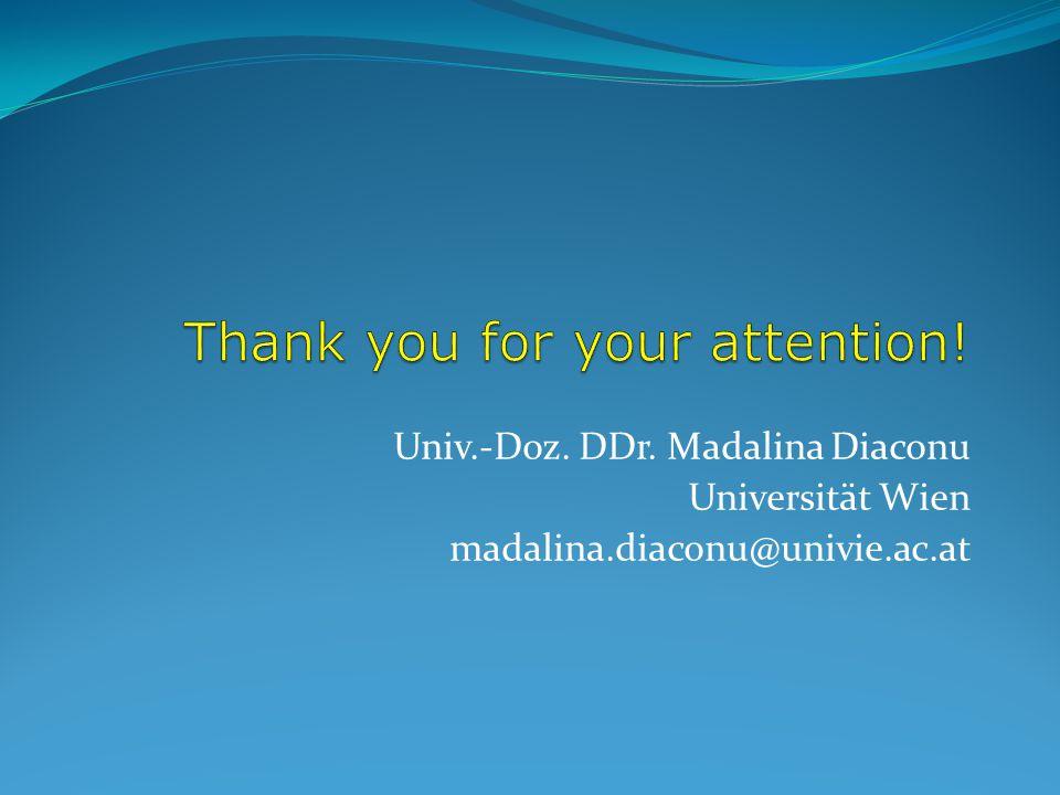 Univ.-Doz. DDr. Madalina Diaconu Universität Wien madalina.diaconu@univie.ac.at