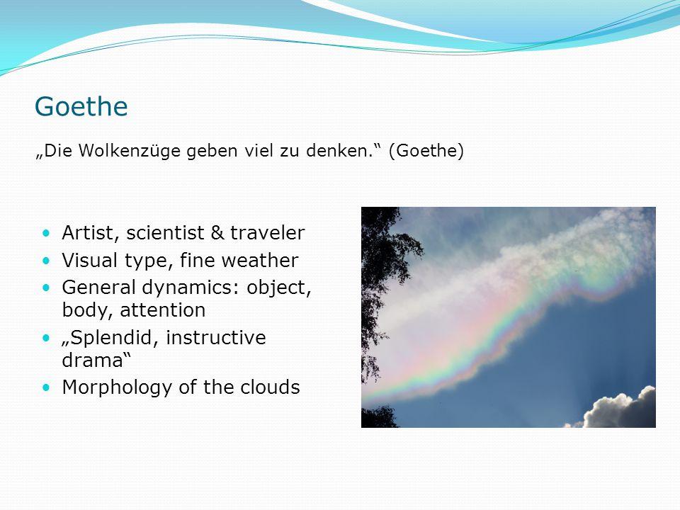 """Goethe Artist, scientist & traveler Visual type, fine weather General dynamics: object, body, attention """"Splendid, instructive drama Morphology of the clouds """"Die Wolkenzüge geben viel zu denken. (Goethe)"""