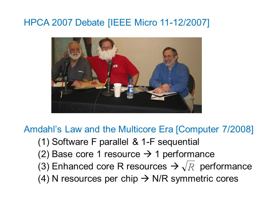 HPCA 2007 Debate [IEEE Micro 11-12/2007] Amdahl's Law and the Multicore Era [Computer 7/2008] (1)Software F parallel & 1-F sequential (2)Base core 1 resource  1 performance (3)Enhanced core R resources  performance (4)N resources per chip  N/R symmetric cores