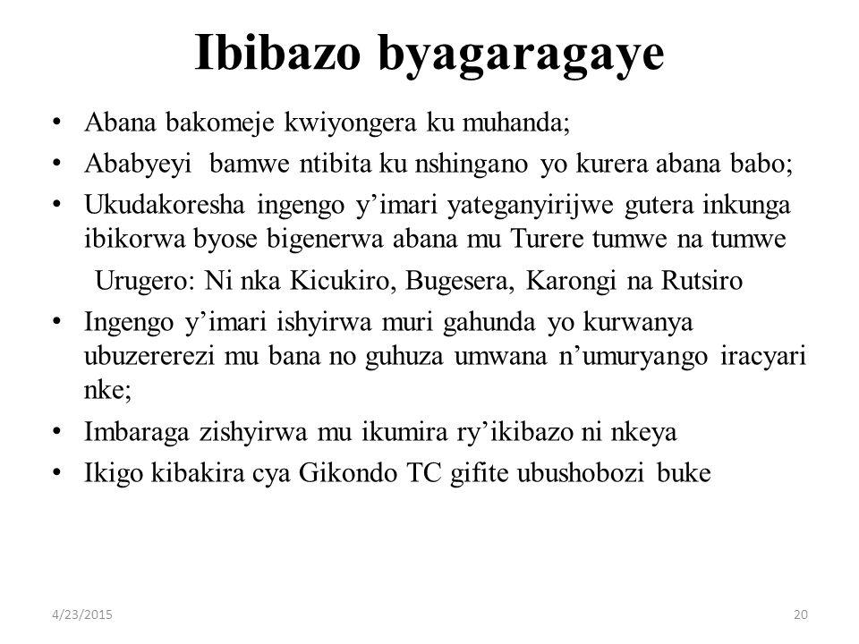 Ibibazo byagaragaye Abana bakomeje kwiyongera ku muhanda; Ababyeyi bamwe ntibita ku nshingano yo kurera abana babo; Ukudakoresha ingengo y'imari yateganyirijwe gutera inkunga ibikorwa byose bigenerwa abana mu Turere tumwe na tumwe Urugero: Ni nka Kicukiro, Bugesera, Karongi na Rutsiro Ingengo y'imari ishyirwa muri gahunda yo kurwanya ubuzererezi mu bana no guhuza umwana n'umuryango iracyari nke; Imbaraga zishyirwa mu ikumira ry'ikibazo ni nkeya Ikigo kibakira cya Gikondo TC gifite ubushobozi buke 4/23/201520