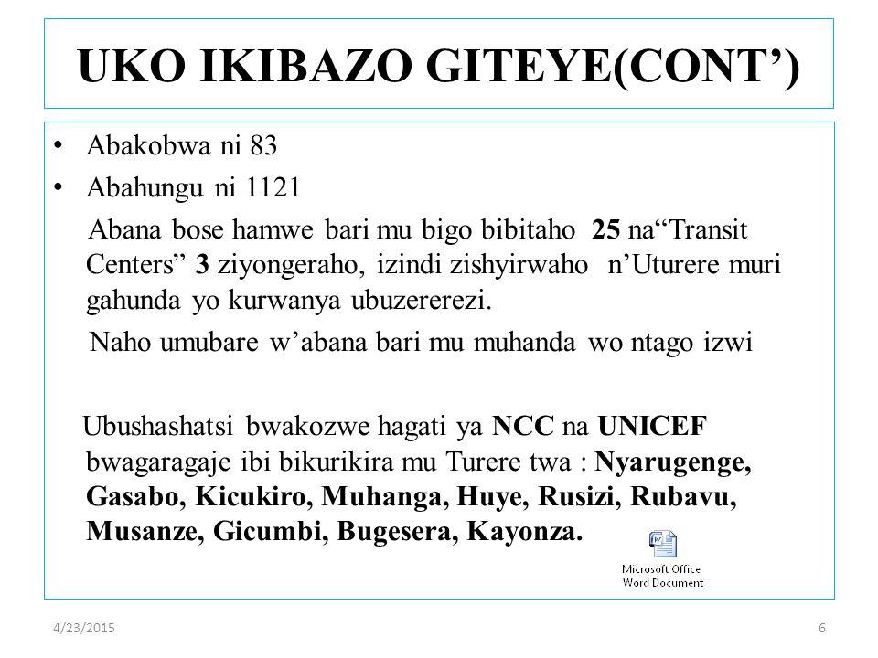 Abakobwa ni 83 Abahungu ni 1121 Abana bose hamwe bari mu bigo bibitaho 25 na Transit Centers 3 ziyongeraho, izindi zishyirwaho n'Uturere muri gahunda yo kurwanya ubuzererezi.