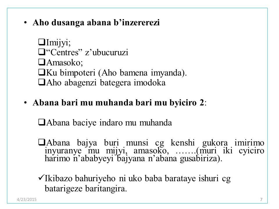 4/23/201577 Aho dusanga abana b'inzererezi  Imijyi;  Centres z'ubucuruzi  Amasoko;  Ku bimpoteri (Aho bamena imyanda).