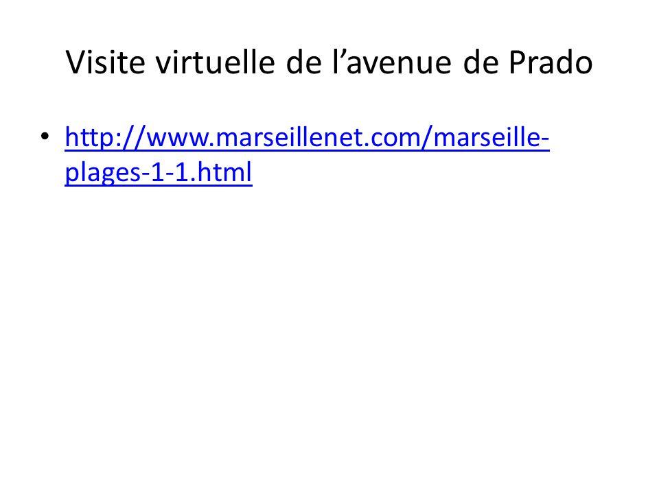 Visite virtuelle de l'avenue de Prado http://www.marseillenet.com/marseille- plages-1-1.html http://www.marseillenet.com/marseille- plages-1-1.html