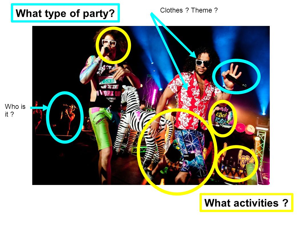 Clothes Theme What type of party What activities Who is it