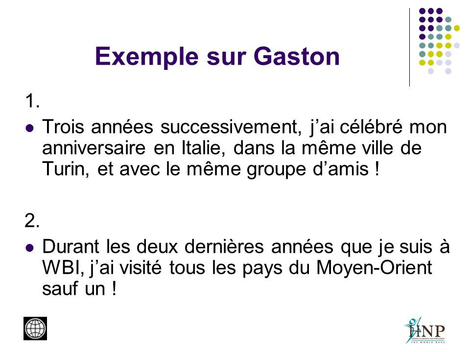 Exemple sur Gaston 1.
