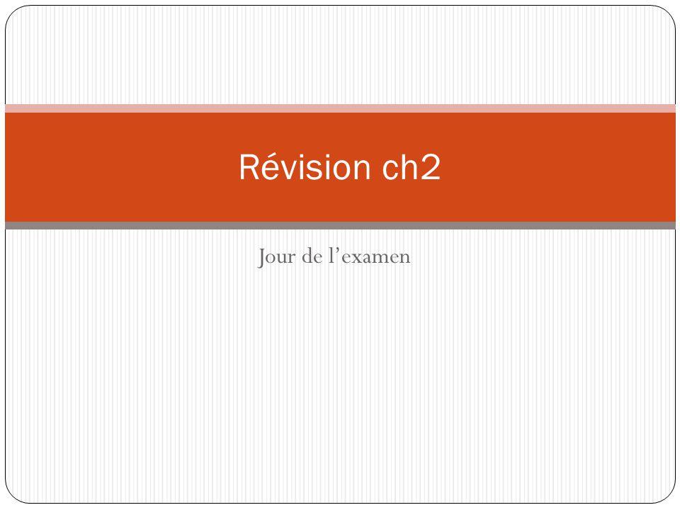 Jour de l'examen Révision ch2
