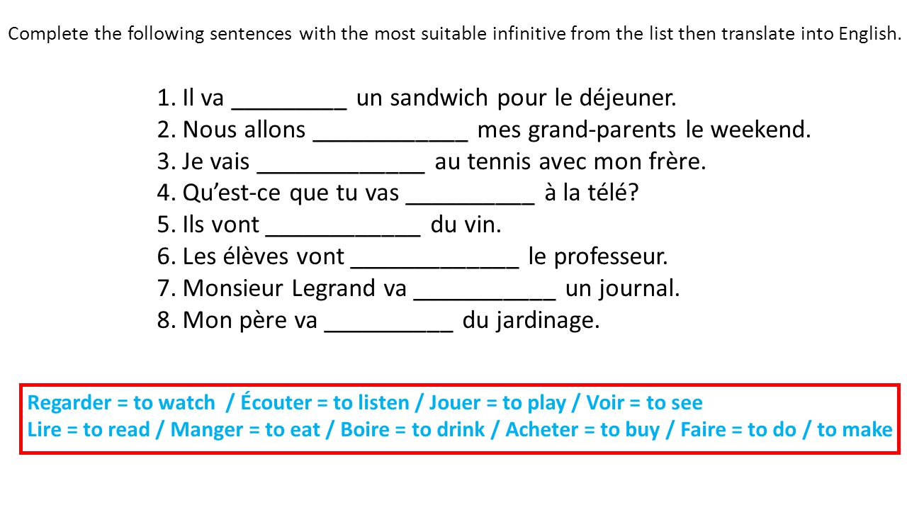 Complete the following sentences with the most suitable infinitive from the list then translate into English.