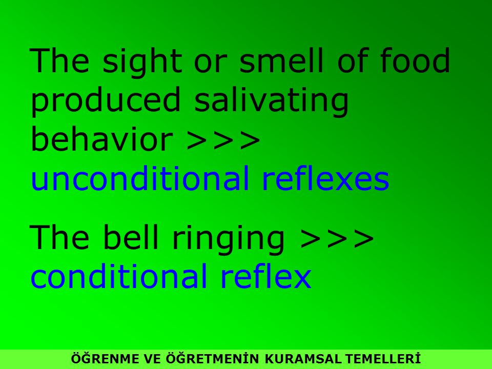 ÖĞRENME VE ÖĞRETMENİN KURAMSAL TEMELLERİ The sight or smell of food produced salivating behavior >>> unconditional reflexes The bell ringing >>> conditional reflex