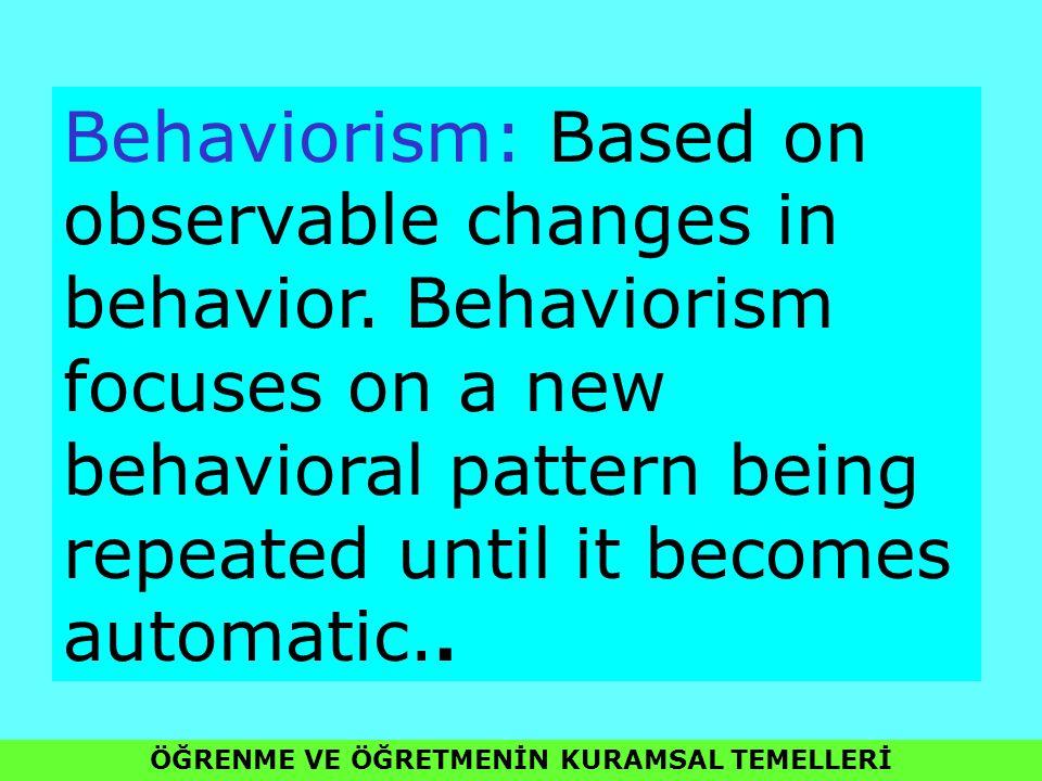 ÖĞRENME VE ÖĞRETMENİN KURAMSAL TEMELLERİ Behaviorism: Based on observable changes in behavior. Behaviorism focuses on a new behavioral pattern being r