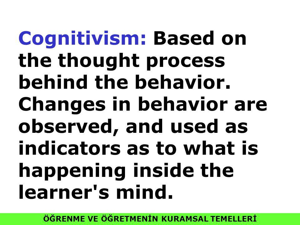 ÖĞRENME VE ÖĞRETMENİN KURAMSAL TEMELLERİ Cognitivism: Based on the thought process behind the behavior. Changes in behavior are observed, and used as