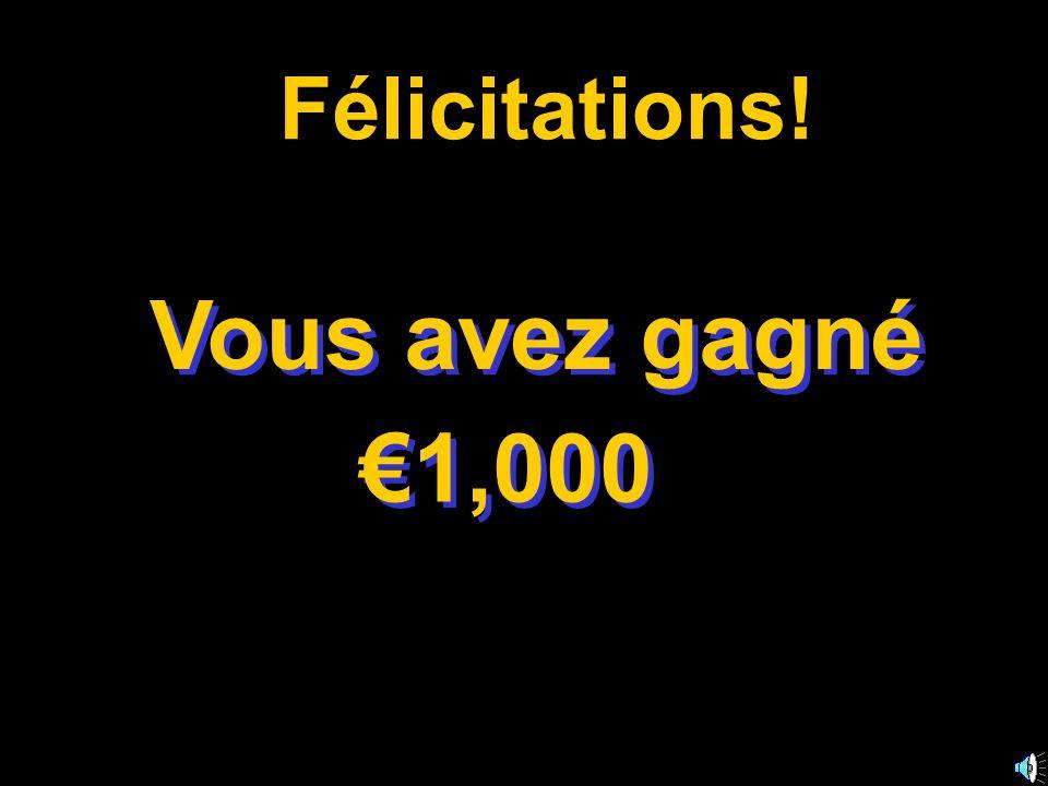 A: omelette C: pain B: oeufs D: frites 50:50 15 14 13 12 11 10 9 8 7 6 5 4 3 2 1 €1 Million €500,000 €250,000 €125,000 €64,000 €32,000 €16,000 €8,000 €4,000 €2,000 €1,000 €500 €300 €200 €100 J'ai pris du