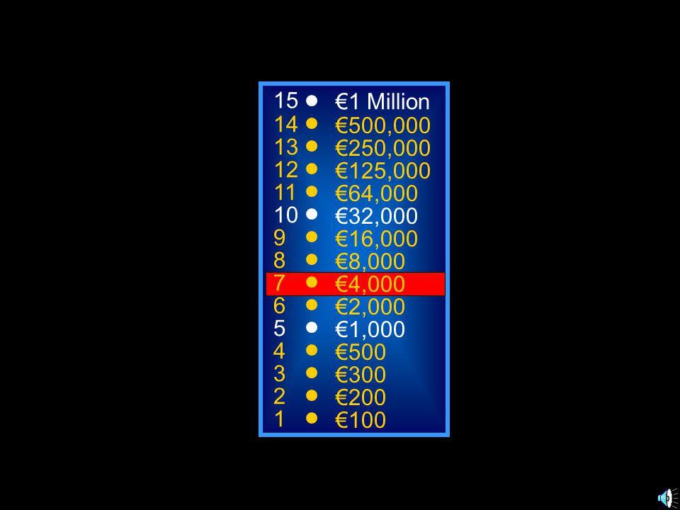 A: pommes de terre C: oignons B: pizza D: poisson 50:50 15 14 13 12 11 10 9 8 7 6 5 4 3 2 1 €1 Million €500,000 €250,000 €125,000 €64,000 €32,000 €16,000 €8,000 €4,000 €2,000 €1,000 €500 €300 €200 €100 Je vais manger de la