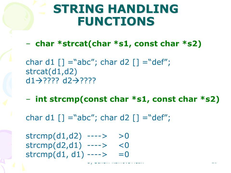 by Senem Kumova Metin 25 STRING HANDLING FUNCTIONS –char *strcat(char *s1, const char *s2) char d1 [] = abc ; char d2 [] = def ; strcat(d1,d2) d1  .