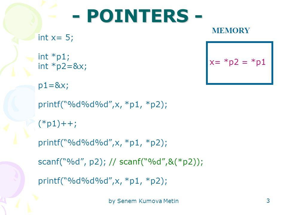 by Senem Kumova Metin 3 - POINTERS - int x= 5; int *p1; int *p2=&x; p1=&x; printf( %d%d%d ,x, *p1, *p2); (*p1)++; printf( %d%d%d ,x, *p1, *p2); scanf( %d , p2); // scanf( %d ,&(*p2)); printf( %d%d%d ,x, *p1, *p2); x= *p2 = *p1 MEMORY