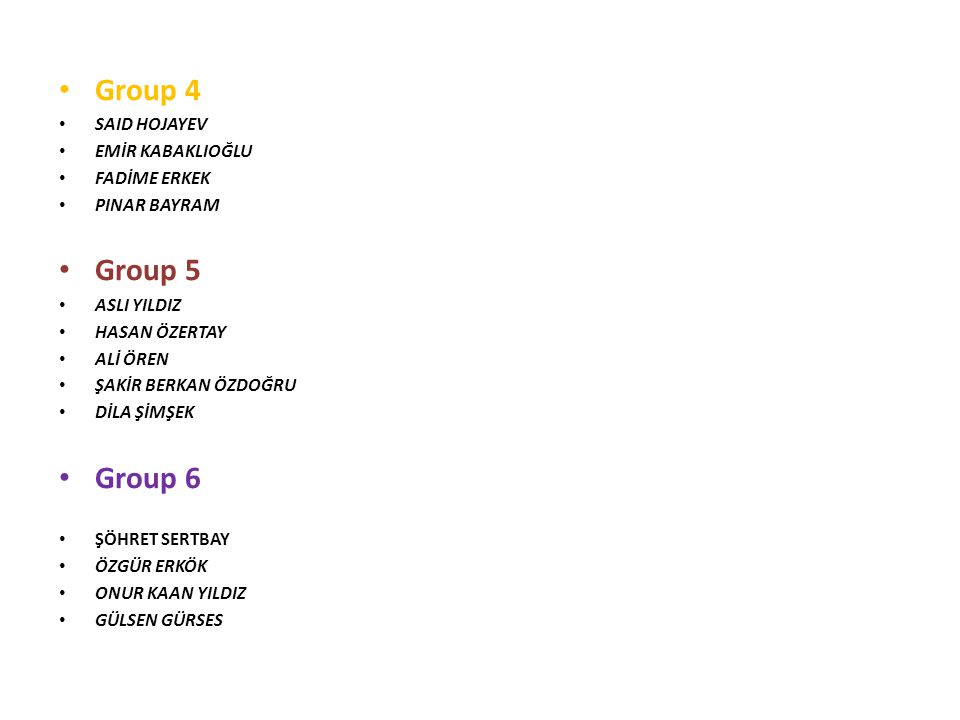 Group 4 SAID HOJAYEV EMİR KABAKLIOĞLU FADİME ERKEK PINAR BAYRAM Group 5 ASLI YILDIZ HASAN ÖZERTAY ALİ ÖREN ŞAKİR BERKAN ÖZDOĞRU DİLA ŞİMŞEK Group 6 ŞÖHRET SERTBAY ÖZGÜR ERKÖK ONUR KAAN YILDIZ GÜLSEN GÜRSES