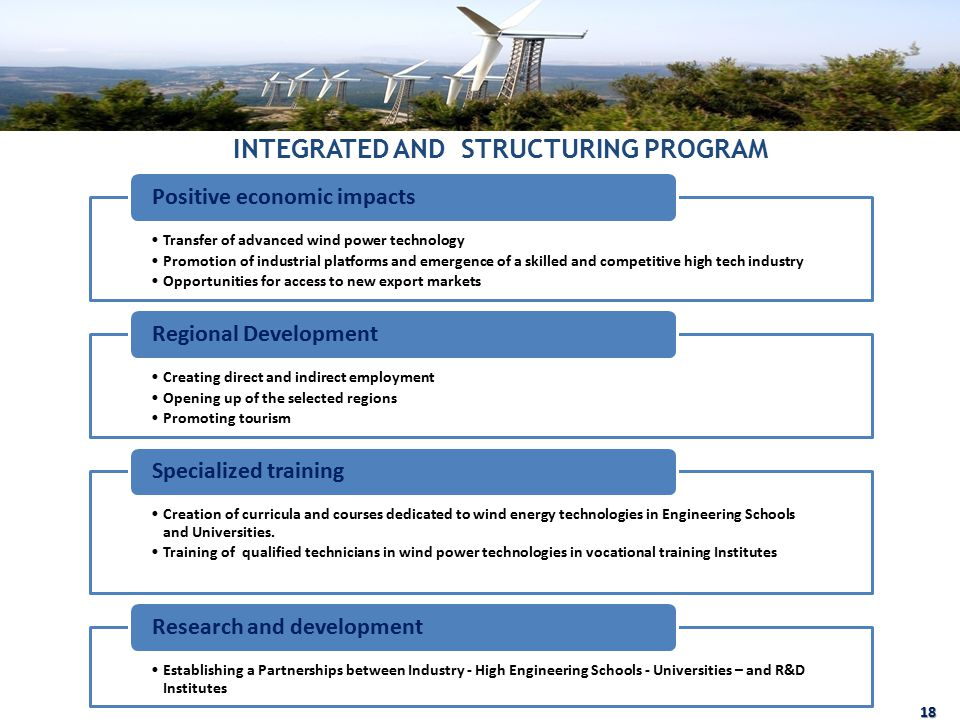 INTEGRATED AND STRUCTURING PROGRAM 18 Transfer of advanced wind power technology Promotion of industrial platforms and emergence of a skilled and competitive high tech industry Opportunities for access to new export markets Positive economic impacts Creating direct and indirect employment Opening up of the selected regions Promoting tourism Regional Development Creation of curricula and courses dedicated to wind energy technologies in Engineering Schools and Universities.