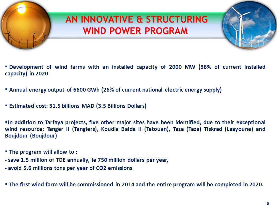  Development of wind farms with an installed capacity of 2000 MW (38% of current installed capacity) in 2020  Annual energy output of 6600 GWh (26%