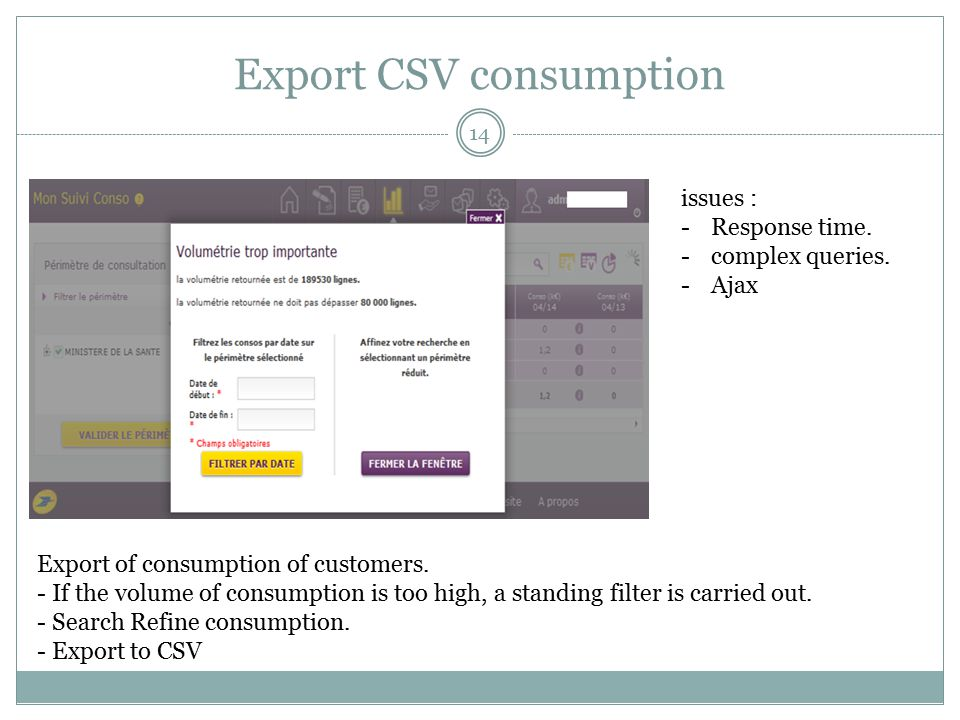 Export CSV consumption Export of consumption of customers.