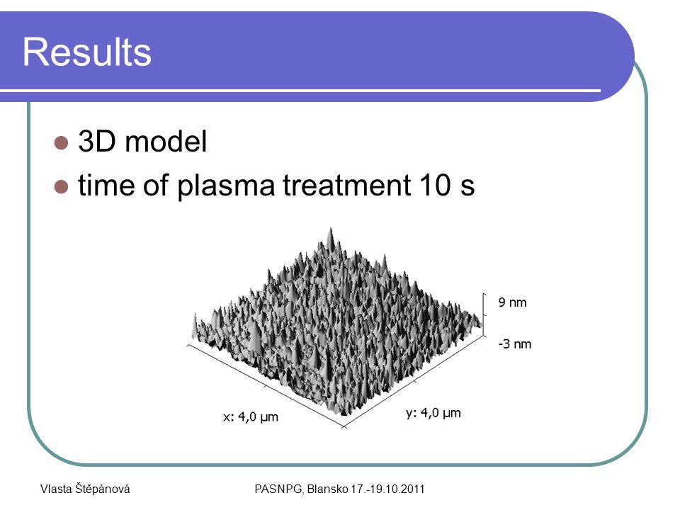 Vlasta ŠtěpánováPASNPG, Blansko 17.-19.10.2011 Results 3D model time of plasma treatment 10 s