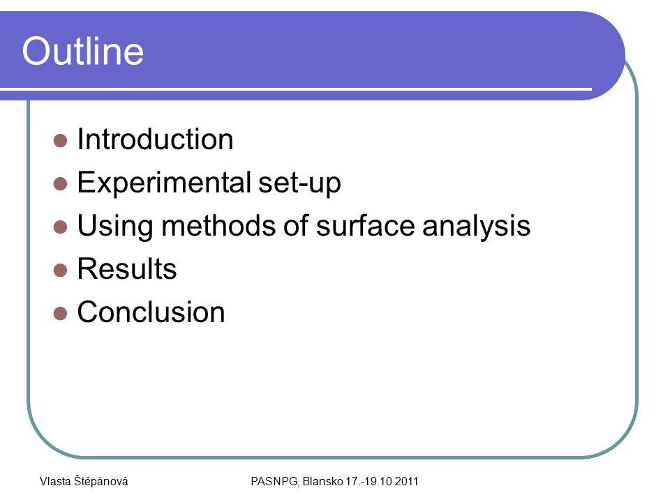 Vlasta ŠtěpánováPASNPG, Blansko 17.-19.10.2011 Outline Introduction Experimental set-up Using methods of surface analysis Results Conclusion