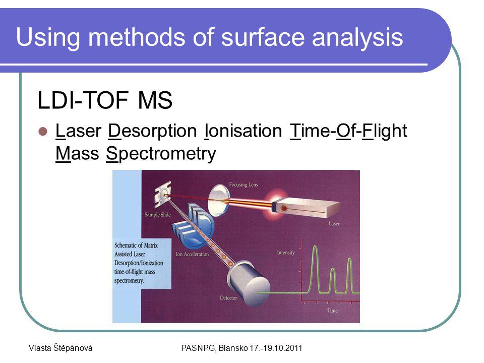 Vlasta ŠtěpánováPASNPG, Blansko 17.-19.10.2011 Using methods of surface analysis LDI-TOF MS Laser Desorption Ionisation Time-Of-Flight Mass Spectrometry
