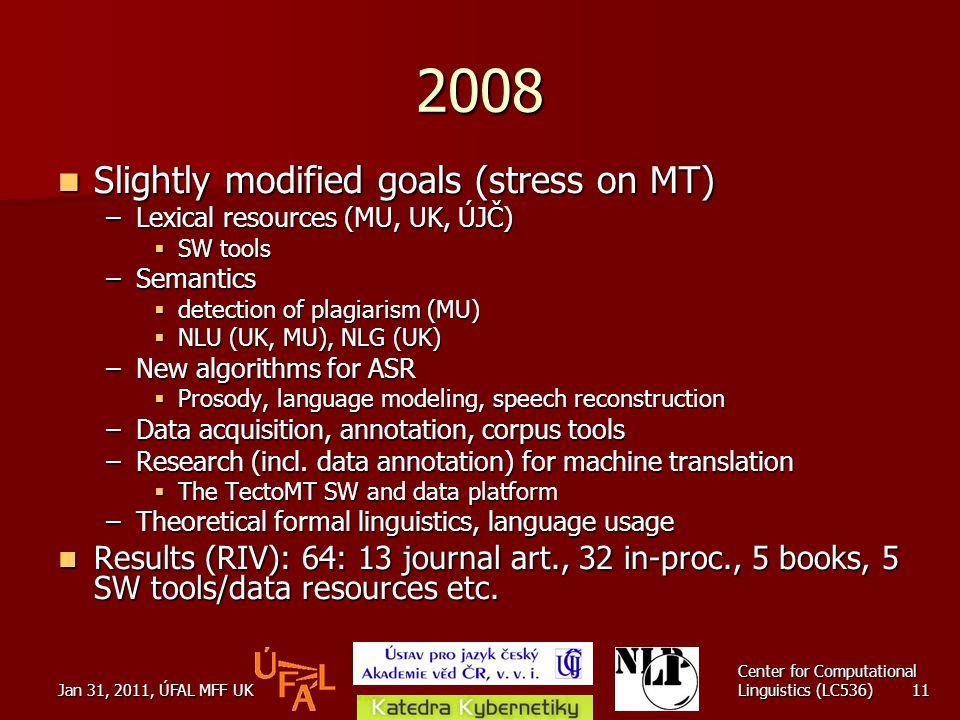 Jan 31, 2011, ÚFAL MFF UK Center for Computational Linguistics (LC536) 11 2008 Slightly modified goals (stress on MT) Slightly modified goals (stress