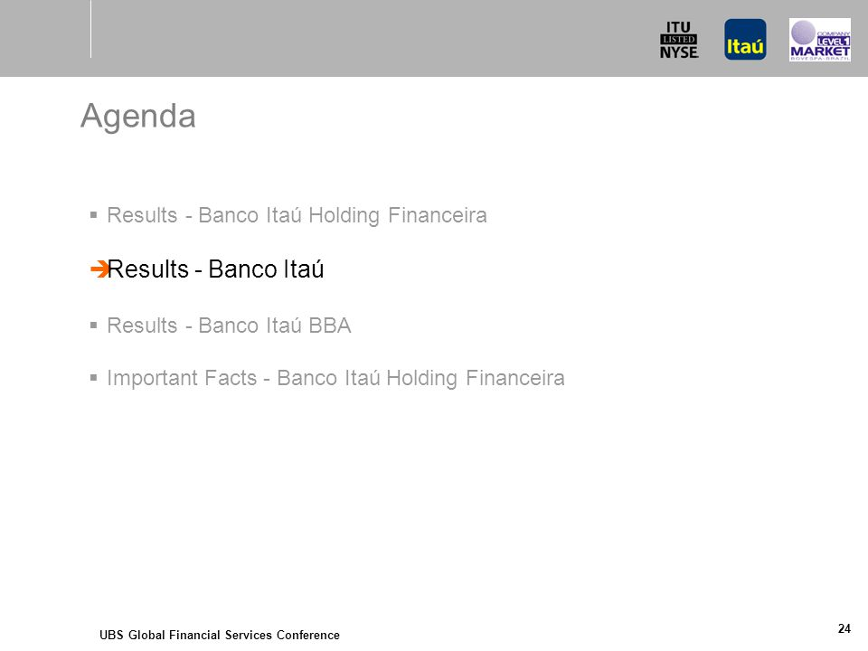 UBS Global Financial Services Conference 24 Agenda  Results - Banco Itaú Holding Financeira  Results - Banco Itaú  Results - Banco Itaú BBA  Important Facts - Banco Itaú Holding Financeira